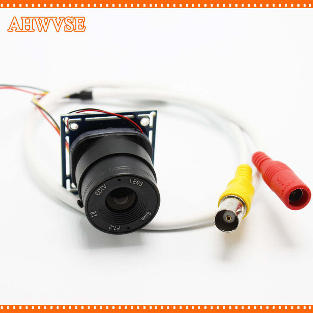 AHWVSE HD 1200TVL Analog  CCTV Camera module board with CS Lens IR-CUT and BNC cable CCTV Security Camera Mini Camera