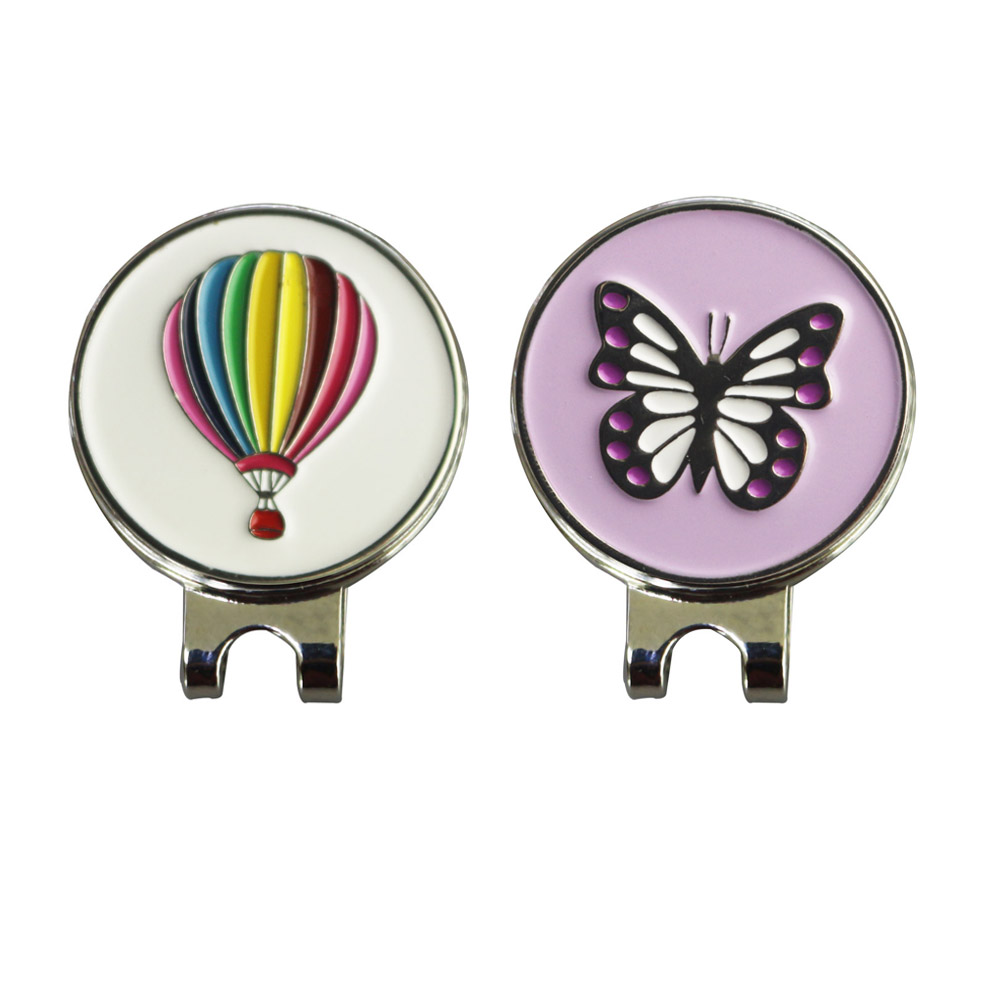 PINMEI Golf Ball Mark Magnetic Hat Clip Sets Pack Of 2 Hot-air Balloon & Butterfly Golf Markers Cap Clips Accessories Gifts Sets