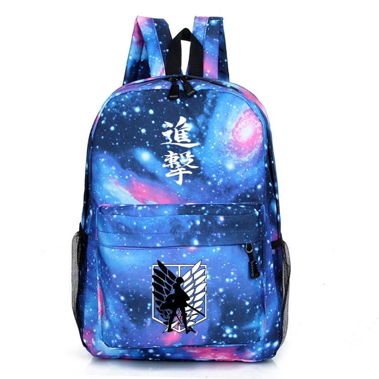 Attack on Titan Shingeki no Kyojin Starry sky prints logo canvas man woman student bag Casual Korean version Backpacks schoolbag шапка запорожец zap classic logo sky brown yellow