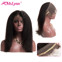 360 Lace Frontal Pre Plucked With Baby Hair Kinky Straight Hair Brazilian Hair Weave Lace Frontal Closure Human Hair Remy Mslynn
