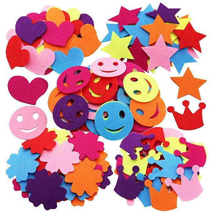 1bag(30-50PCS). Irregular Shape Smile Car Flower Crown Star Heart Leaf Fabric Sticker Felt Crafts Self Learning Kindergarten Diy