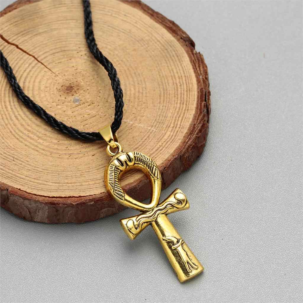 Cxwind Retro Ankh Collana Croce Pendente e Catena Della Corda Donne Degli Uomini Dei Monili Chiave di Nilo Egiziano Croce di Fascino Amuleto Gioielli