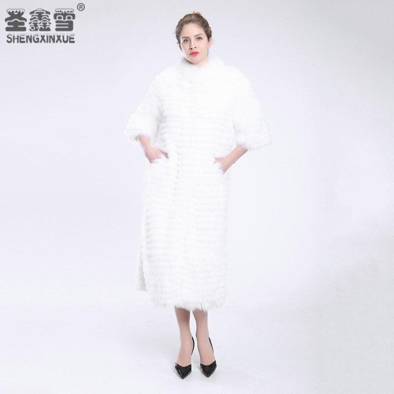 女性リアルホワイトフォックス毛皮のコートファッション毛皮ジャケットストライプスタイルのオーバーコート女性のキツネの毛皮の上着の服