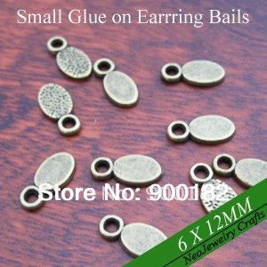 Antique Bronze Oval Earring Bails, Glue on Earring Bails for Glass Earrings Making