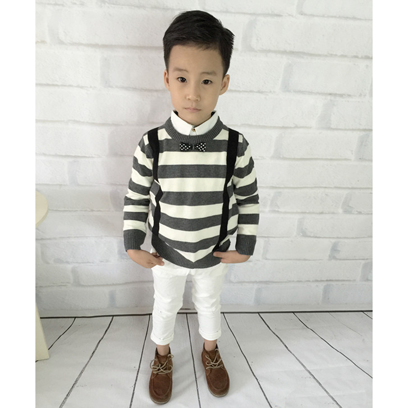 44976116a5c Fashion Knitted Kids Sweater With Tie Striped Cotton Boys Pullovers Sweater  Autumn Winter Patterns Crochet Children Clothing-in Sweaters from Mother    Kids ...