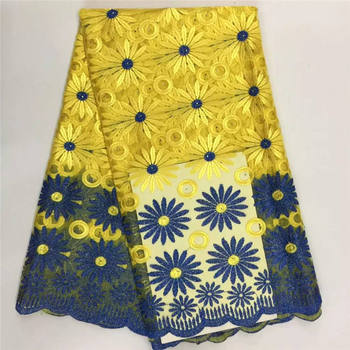 2019 yellow Blue Color Latest African 100% Cotton Swiss Voile Lace Fabric High Quality African Swiss Voile Lace In Switzerland