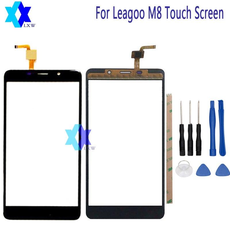 Für LEAGOO M8 Touchscreen Glas Ursprüngliche Garantie Original Neue Glasscheibe Touchscreen 5,7 zoll Werkzeuge + Adhesive Lager