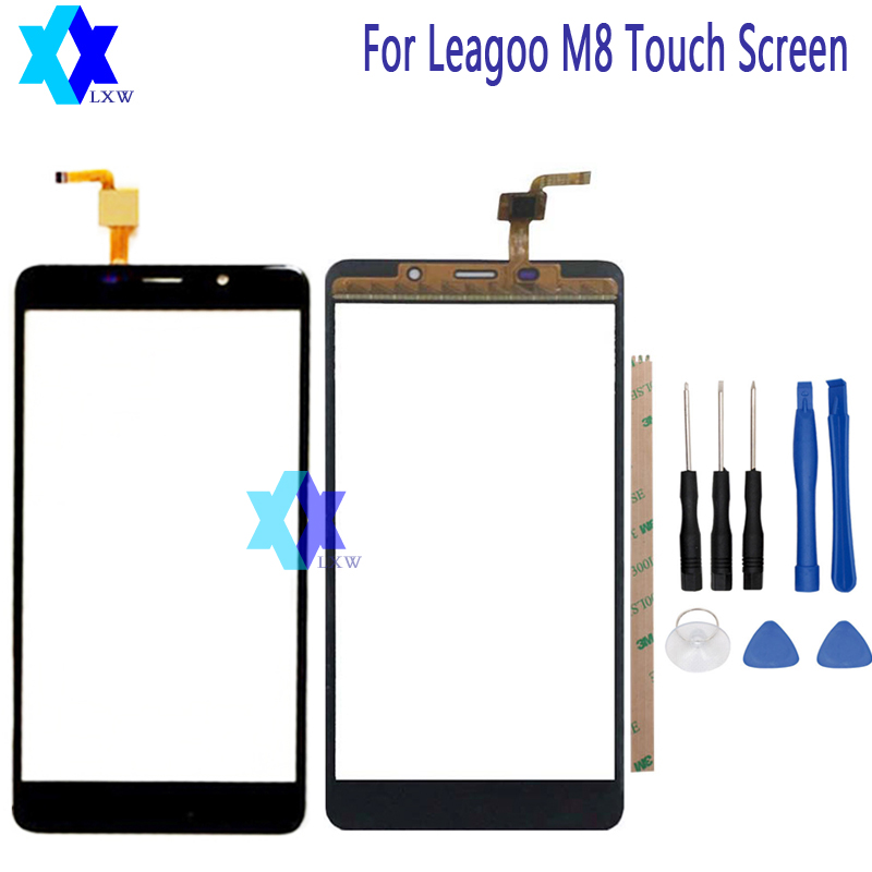 For LEAGOO M8 Touch Screen Glass Original Guarantee Original New Glass Panel Touch Screen 5.7 inch Tools+Adhesive Stock
