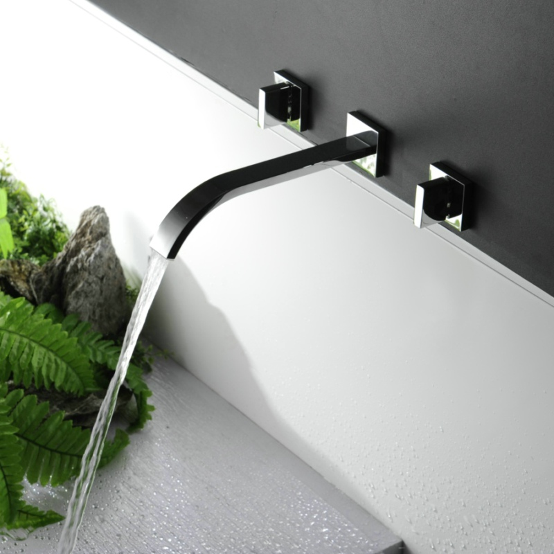 Free Shipping Wall Mounted Basin Faucet Chrome Brass Vanity Sink Mixer Tap Dual Handle Bathroom Faucet LT-317 general motors module 24243086