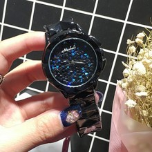 2016 бренд полный алмазов розового золота черные женщины смотреть женский стали женщины кварцевые bling платье часы для дам браслет reloj mujer