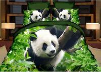 Ev Tekstili Dev Panda Baskı 3D Yatak Setleri, Kraliçe 4 Adet Nevresim Çarşaf Yastık Ücretsiz kargo,