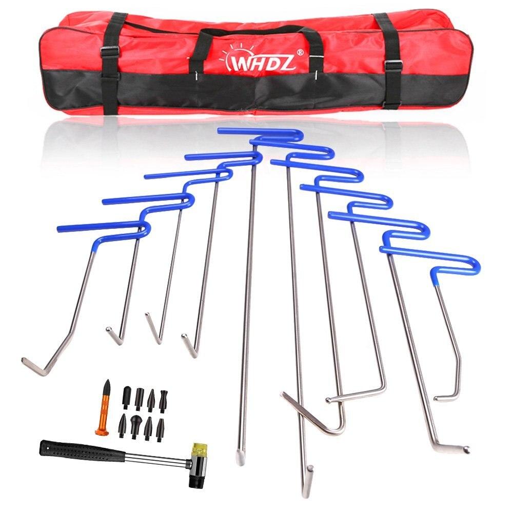 Ensemble d'outils de crochet PDR tige de poussée pied de biche enlèvement de Dent Kit d'outils de réparation de Dent sans peinture pour voiture