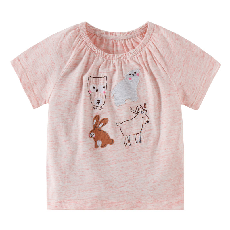 2019 Brand New Summer 2-7 year baby Kids Girls Mice Flower Embroidery Pure cotton Top Quality Cotton t-shirts Tops shirt Tshirts