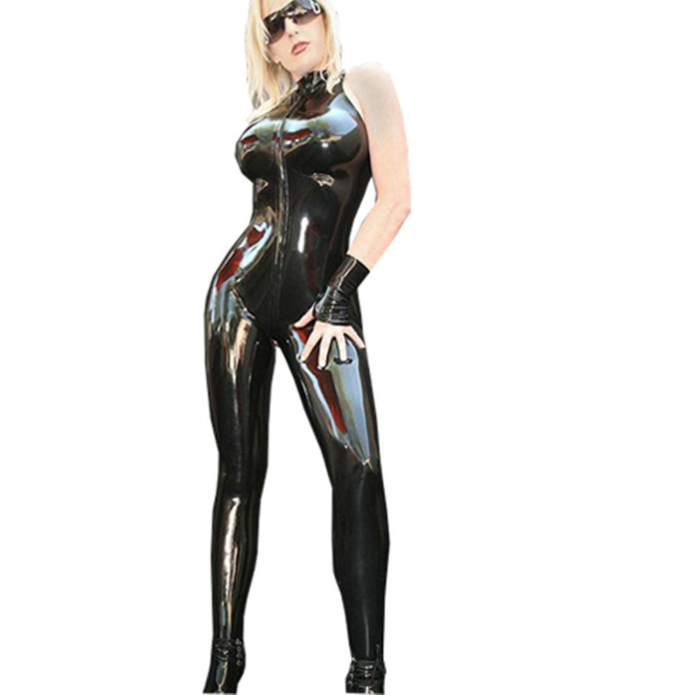 2017 Women's Sleeveless PVC Catsuit dance front zipper fancy jumpsuit cosplay costume With gloves stripper