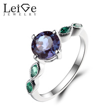 Leige Jewelry Lab Alexandrite Ring Anniversary Ring Round Cut Emerald Fine Gemstone 925 Sterling Silver June Birthstone for Her