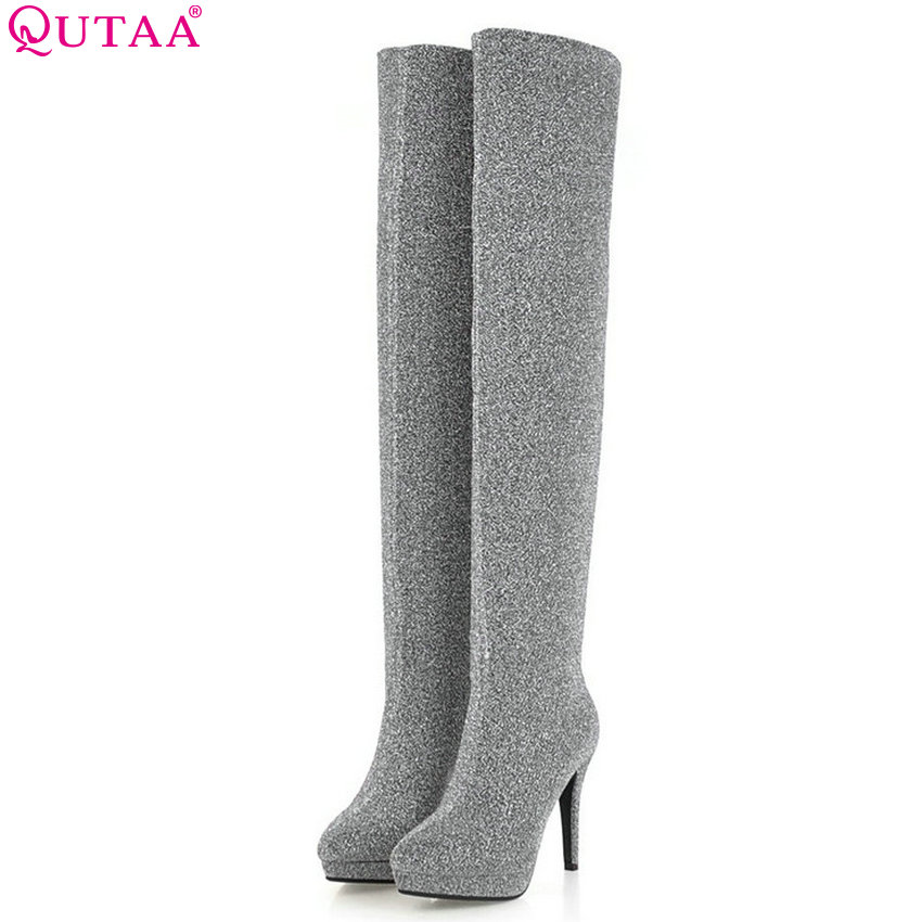 QUTAA 2019 New Fashion Women Shoes Platform Over The Knee High Boots Thin High Heel Winter Shoes Woman Motorcycle Big Size 34-43 memunia over the knee boots fashion punk motorcycle boots for women platform shoes woman height increasing big size 34 43