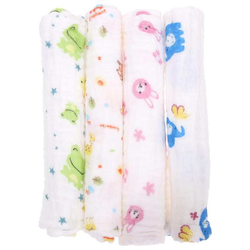 Baby Girls Boys Cartoon Animal Print 6-Layer Gauze Towel Baby Wash Cloth 100% gauze cotton baby handkerchief square cartoon