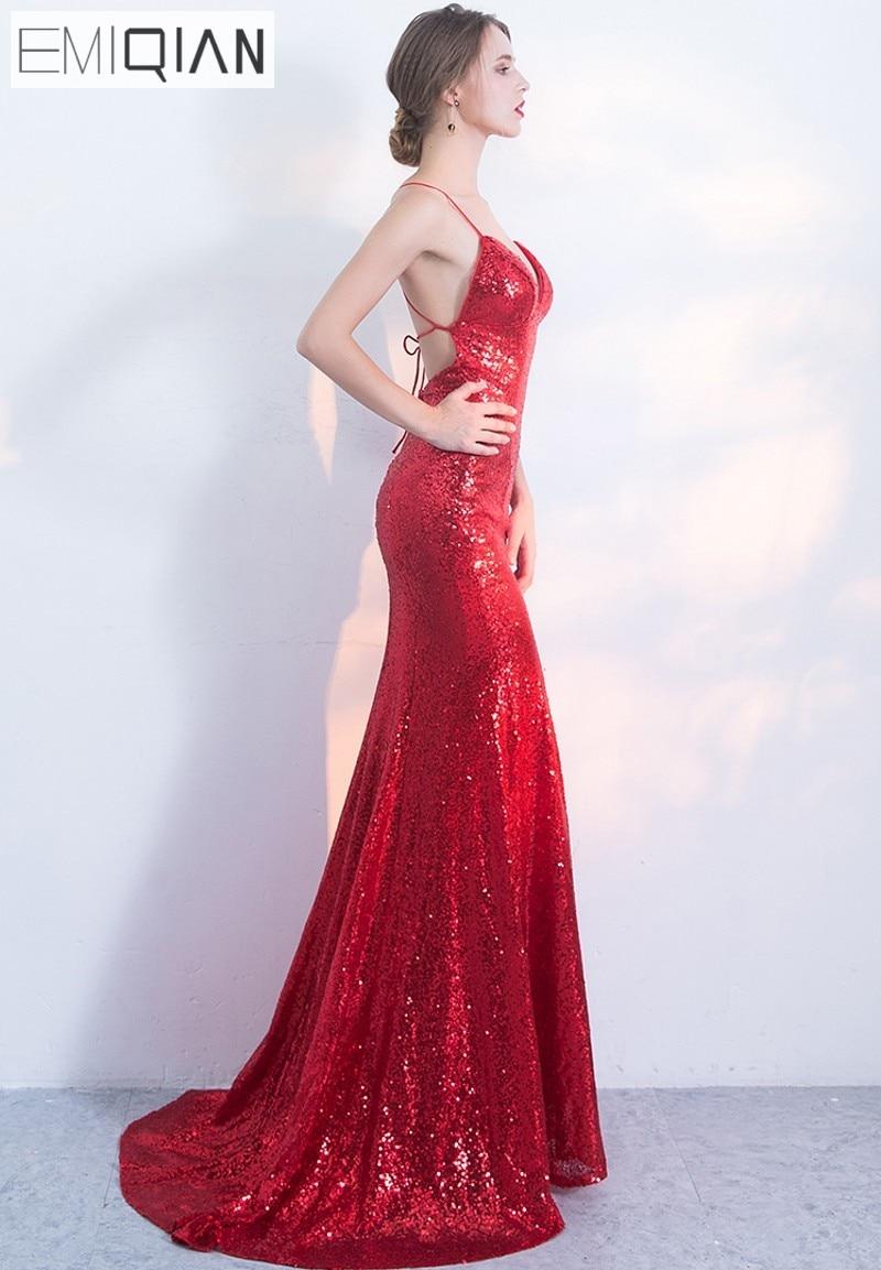 NOVO Designer Red Sequin Formal Prom Party haljina Spaghetti remen - Haljina za posebne prigode - Foto 2