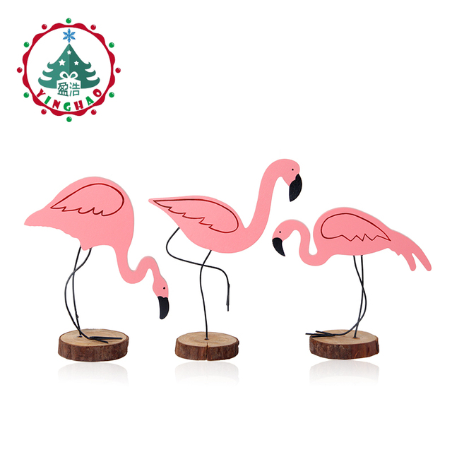 Inhoo 3pcs Pink Flamingo Decoration Diy Gift Wedding Party Ornament Accessories Wooden Craft Kids Birthday Decor For Home