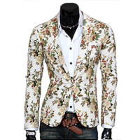 Men Blazers Korean Solid Tailored Slim All Match Floral Suits Full Length Sleeve Man Blazer Casual