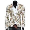 Homens Blazers Coreano Sólidos Tailored Ternos Homem Cheio Comprimento Da Manga Magro Floral Todo o Jogo Blazer Terno Jaqueta Casual Único Breasted