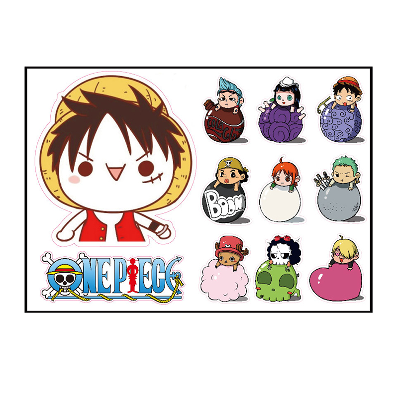 11pcs One Piece Monkey D Luffy Fixed Gear/Luggage/Guitar/Motor/Cars/Refrigerator Stickers 21*29cm Cute ONEPIECE Sticker 5-20cm