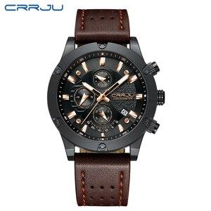 Image 2 - Big Dial Clock CRRJU Relogio Masculino Fashion Sports Quartz Mens Watches Top Brand Luxury Military Leather Waterproof Watch men