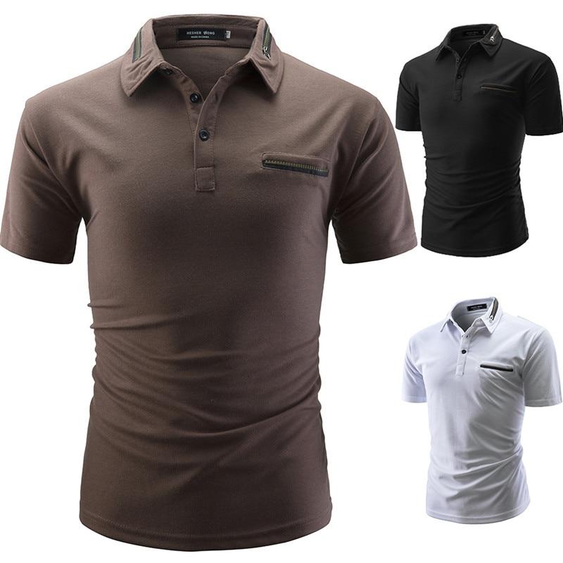 TJWLKJ Brand Clothing Men Poloshirt Men Casual Slim Business Casual Solid Male   Polo   Shirt Short Sleeve High Quality Pure Cotton