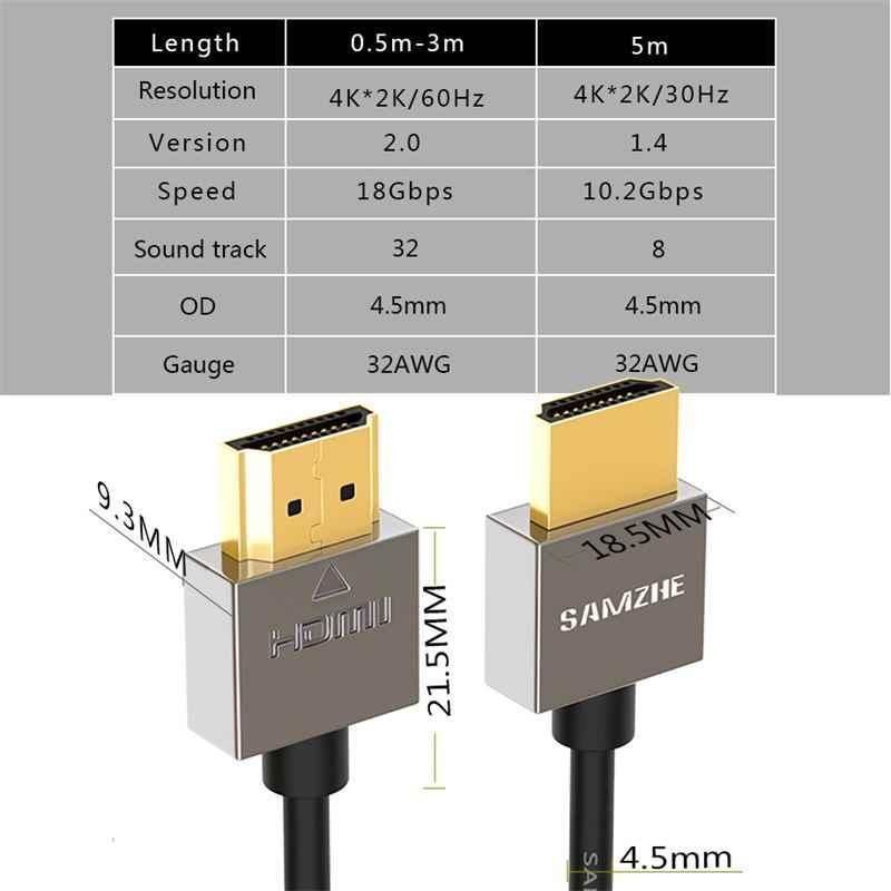 Samzhe HDMI Ke HDMI Kabel 4K HDMI2.0 Kabel Slim Dukungan 3D Ethernet untuk HDTV Komputer Laptop PS4 0.5 M 1 M 1.5 M 2 M 3 M 5 M