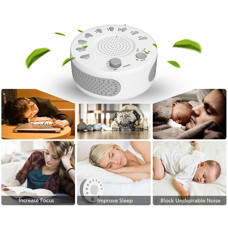 White Noise Machine Portable Baby Sleep Soother Cure Insomnia 9 Soothing Sounds Anti Snore Sleep Aiding with Auto-off Timer 1