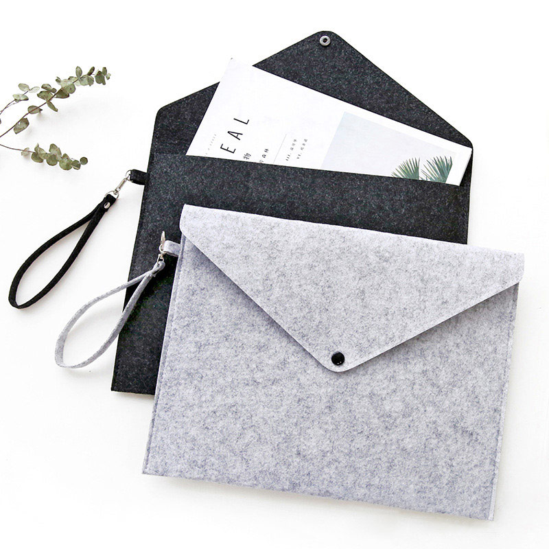 Portable Large Felt File Bag A4 Paper Document Clutch Storage Bag Case Office Handbag School Student Stationery Organizer Supply