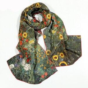 Image 5 - 46 Designs 2019 Van Gogh Oil Painting Silk Scarf Women & Men Scarf 100% Real Silk Scarves Female Luxury Designer Scarves