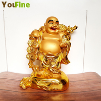 Bronze Stick Gold Chinese Feng Shui Laughing Buddha Statue Jewelry Maitreya Buddha Sculpture Home Garden Statuette