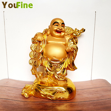 Bronze Stick Gold Chinese Feng Shui Laughing Buddha Statue Jewelry Maitreya Sculpture Home Garden Statuette