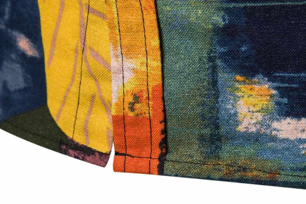 2019 ホット販売新 Tシャツメンズプリントハワイ緩い綿リネン半袖カジュアルボタンシャツヘレン Freizeithemd