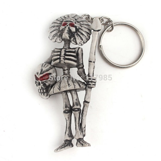 Clearance Sale 1Pc Motorcycle Bicycle Skull Halloween Charms Keychains Vintage Skeleton Key Ring Keyfob Jewelry Creative