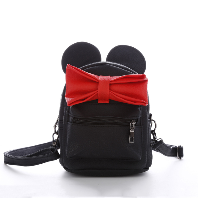 8ce61c5a82b5 Bow Waterproof Small Leather Backpack Women Travel Student Bag Mickey Mouse  Ears School Bags For Teenagers