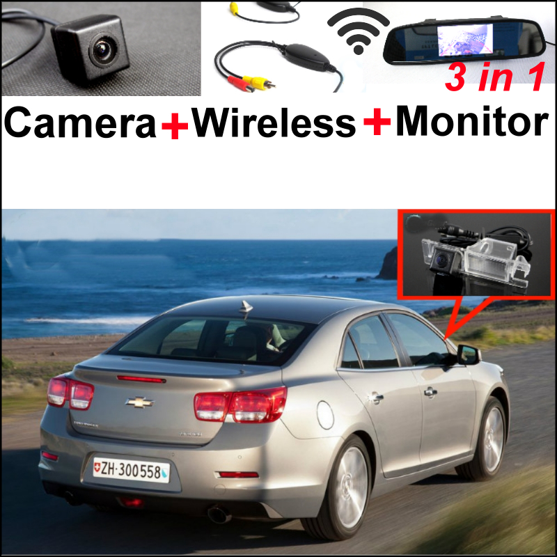 3 in1 Special WiFi Rear View Camera + Wireless Receiver + Mirror Monitor EASY DIY Parking System For Chevrolet Malibu 2012~2014 цена