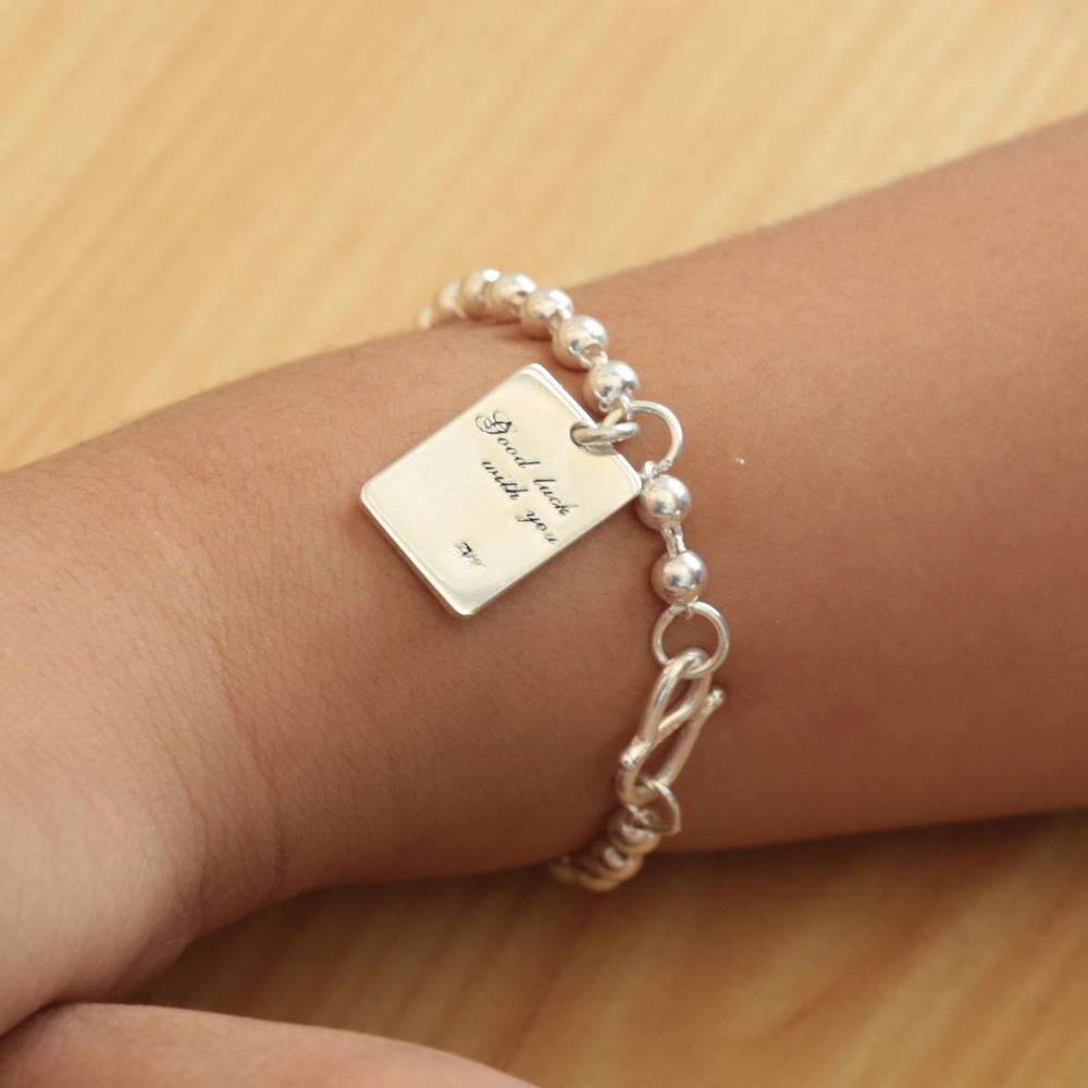 Wholesale 925 Real Solid Silver Baby Bracelet Beaded Chain Custom Words Engraved Tag Rectangle Personalized Date