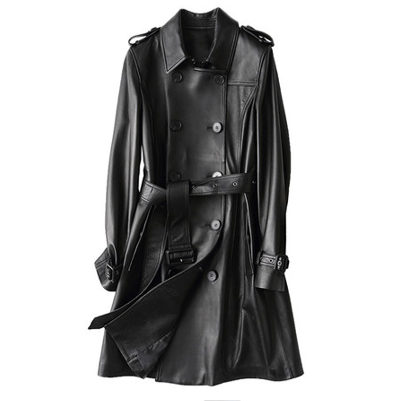 New 2019 Spring Geniune Leather Jacket Women Long Slim Double Breasted Sheepskin Leather Coats Suit Collar