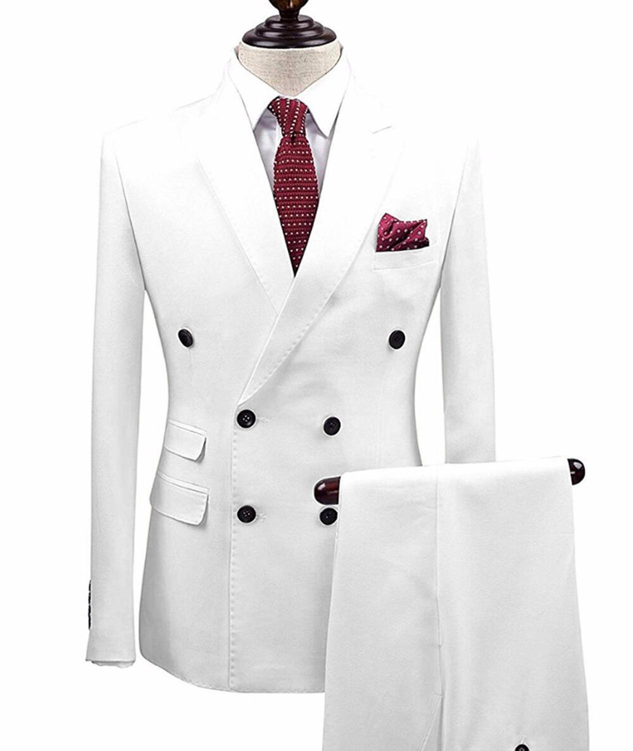 Mens Suits Slim Fit 2 Pieces Business Groom Double-breasted Jacket Tuxedos White Blazer For Wedding Prom Evening(Blazer+Pants)