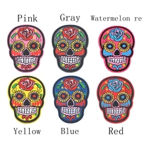 5PCs Iron On Patches DIY Flowered Skull Embroidered Patches For Clothing Fabric Badges Iron On Sewing Patches