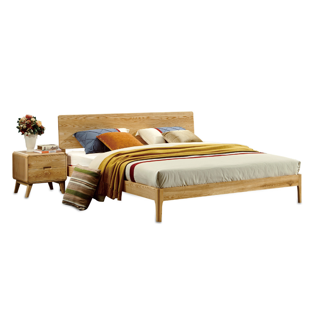 1212H103 Original Nordic style Asho solid wood with stable ranked skeleton soft bed-rest Modern Simple style large bed frame