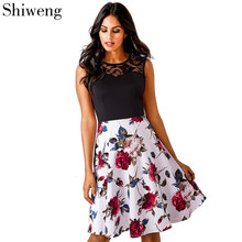 Shiweng Ladies Vintage Cotton Work Office Dress Woman Summer Casual Ladylike Stylish Lace Charming Sexy Women O Neck A008()
