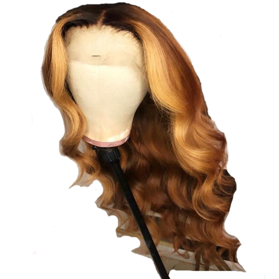 Sunnymay 13x4 Brown Ombre Human Hair Lace Front Wig With Baby Hair Remy Hair Body Wave