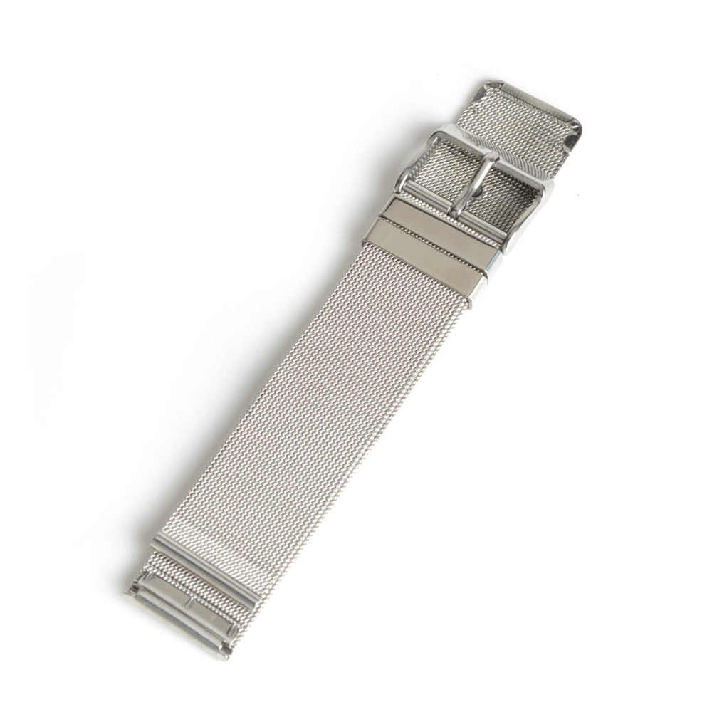 18mm Durable Silver Steel Watch Band Strap Pin Buckle Adjustable Watchband Watch Replacement Band SB0560