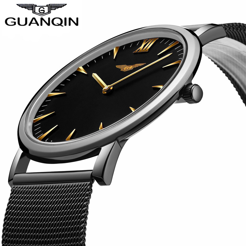 GUANQIN New Fashion Men's Ultra Thin Quartz Watches Men Luxury Brand Business Clock Stainless Steel Mesh Band Waterproof Watch цена 2017
