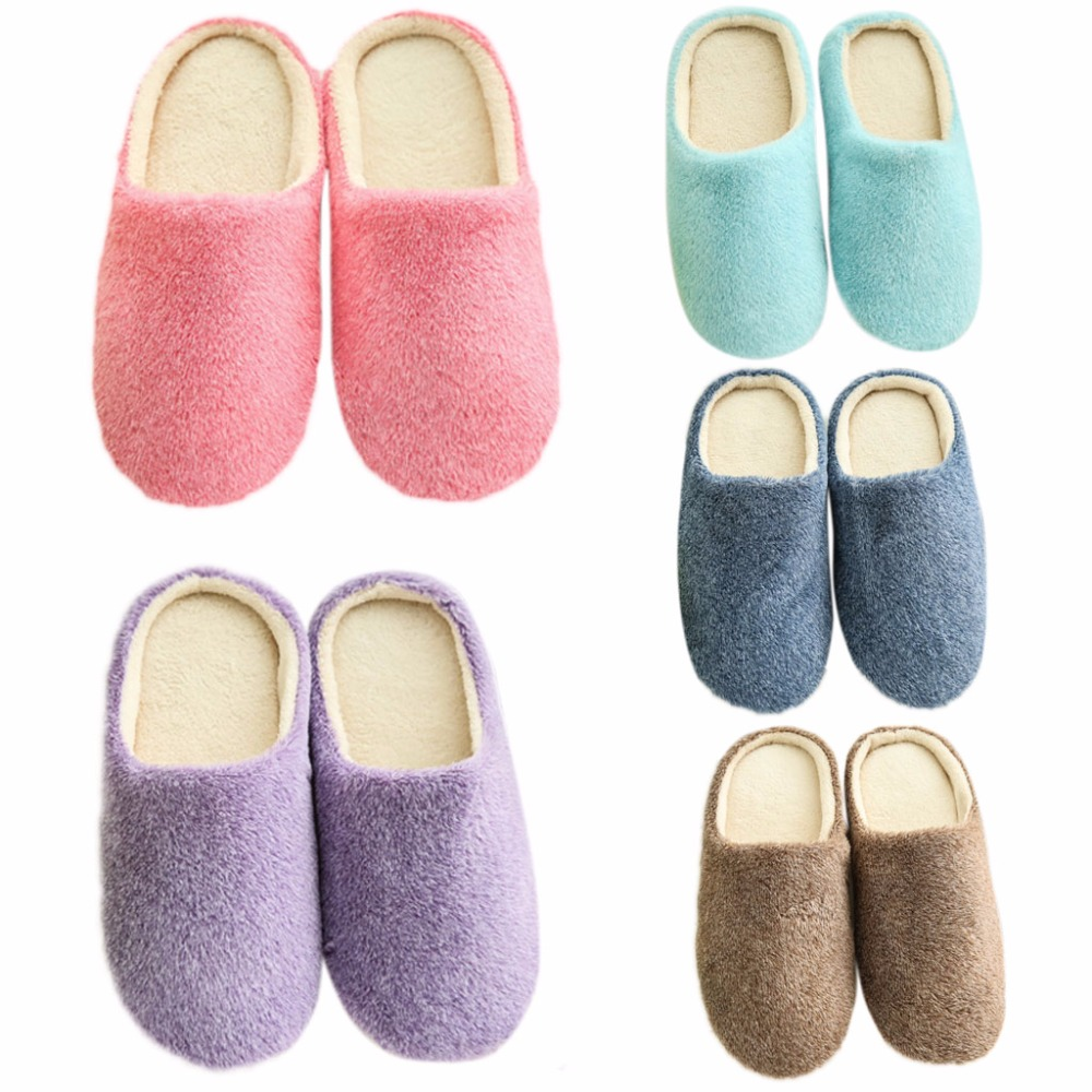 THINKTHENDO Women Indoor House Slippers Soft Plush Non-Slip Floor Home Furry Shoes Bedroom Winter Men soft plush cotton cute slippers shoes non slip floor indoor house home furry slippers women shoes for bedroom q37