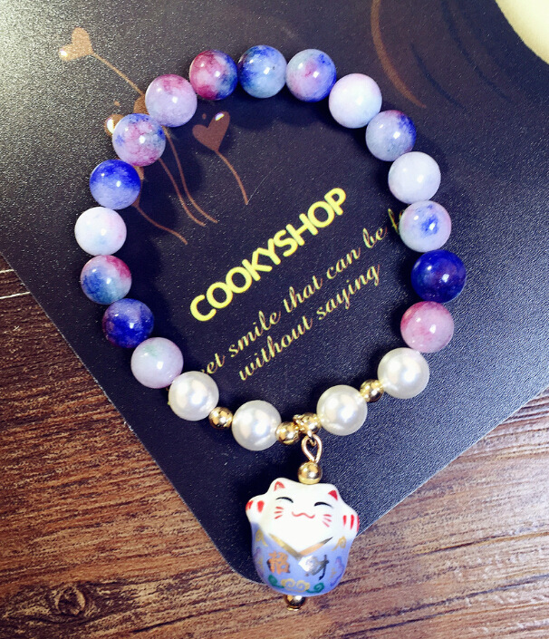 Natural stone beads chain Lucky Cat Bracelet Women fashion jewelry wholesale cute gift