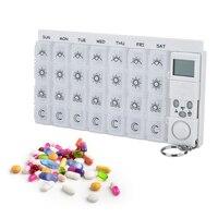 28 сетки еженедельно 7 Дней Pill Box медицина таблетки Дело Организатор LED таймер напоминание s Планшеты хранения таблетки диспенсер сигнализаци...